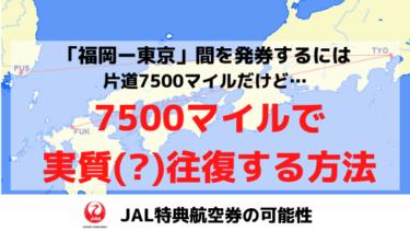 片道分の7500マイルで福岡-東京を(実質)往復できる!?JAL特典航空券の可能性